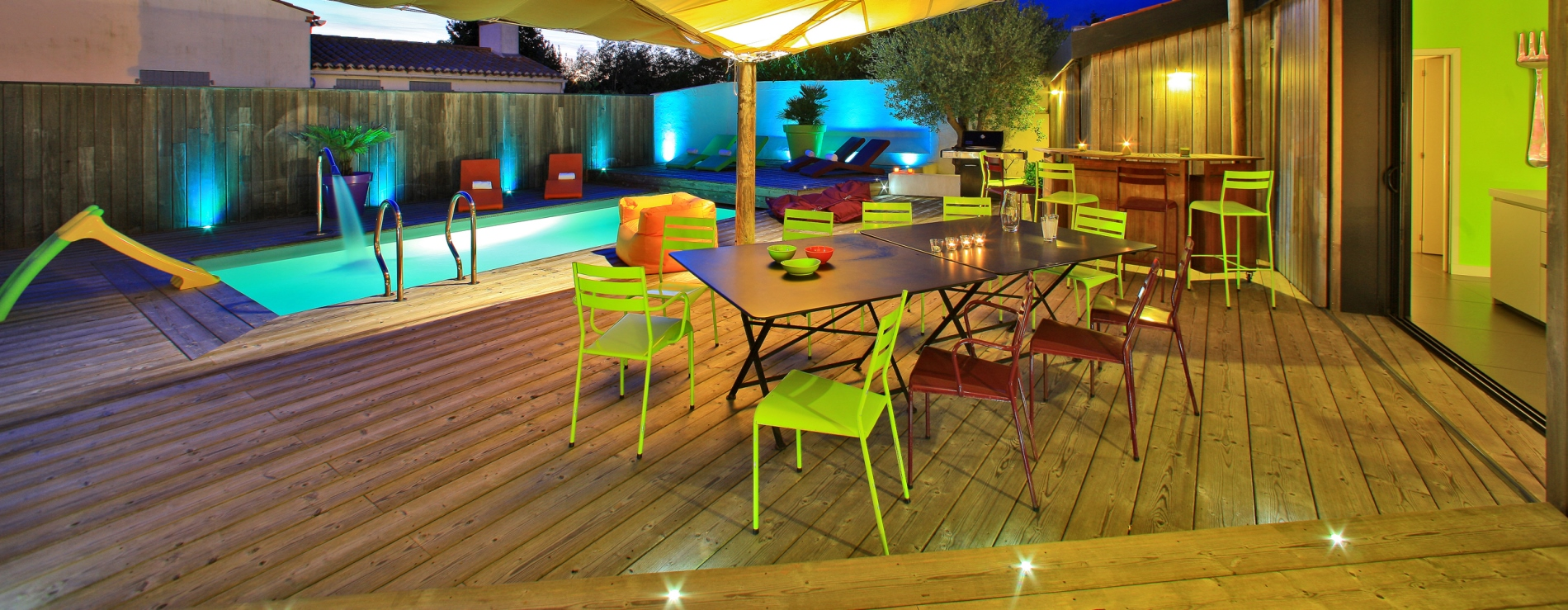 terrasse voile d'ombrage coin repas villa de standing