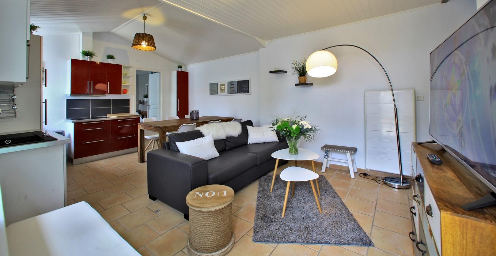 Salon séjour location maison 3 chambres noirmoutier vendée
